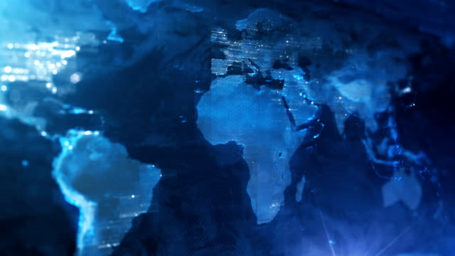 4k world map background (blue) - loop - world map stock videos & royalty-free footage