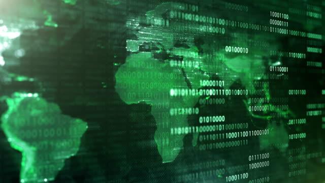 4k World Map With Binary Code (Green) - Loop video