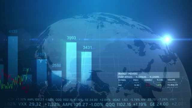 4k World Stock Market Concept Moving Animation Seamless Loop. video