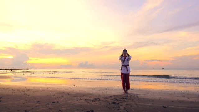 4k: Young women Practising Martial Arts Outdoors On the beach at sunset Video of Young women Practising Martial Arts Outdoors On the beach at sunset. 4K(UHD) 3840x2160 format. martial arts stock videos & royalty-free footage