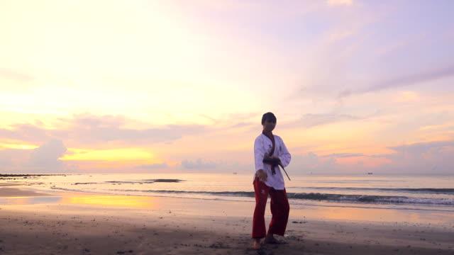4 k: 若い女性夕暮れビーチの屋外 practising 格闘技 - 武道点の映像素材/bロール