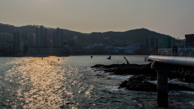 4k zoom out Time lapse of  Songdo Beach in Busan, South Korea, Asia