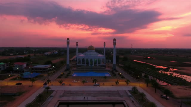 4k.Aerial view of Central Songkhla Mosque, Thailand. video