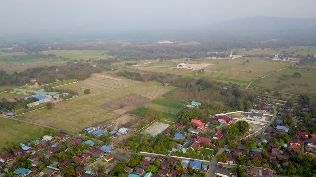 4k:Aerial view of Northern Rural Village in Thailand