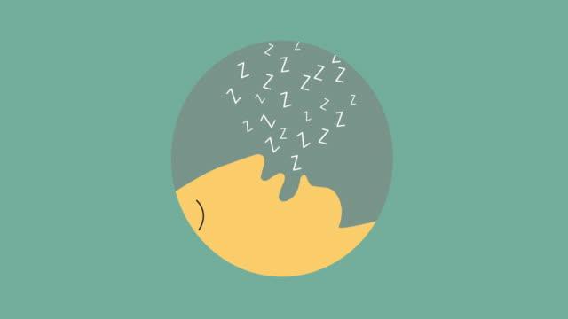 stockvideo's en b-roll-footage met 4k:cartoon snurken persoon. video animatie - sleeping illustration