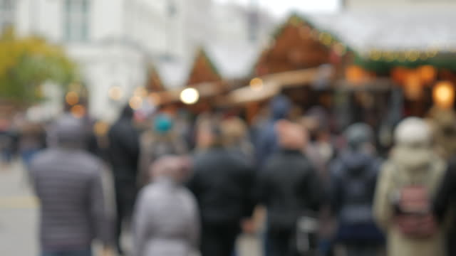 4K:Christmas walking street in the central city on December video
