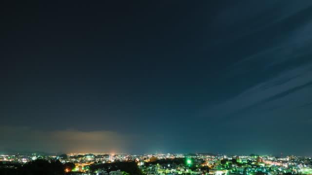 4K,T/L,city and dark sky at night. video