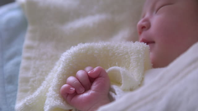 4K,Close up shot of Japanese newborn baby sleeping. video
