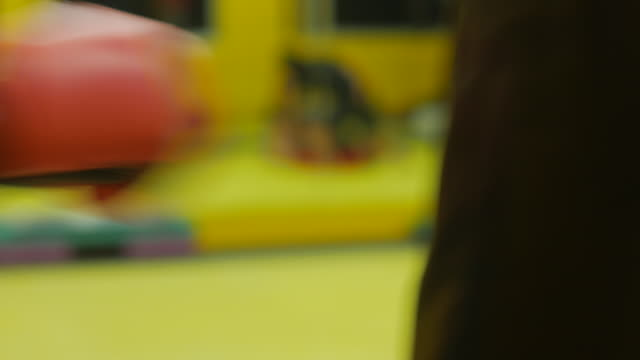 4K:Close-up:Punching bag in a boxing club