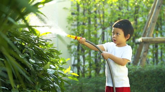4K:Cute little boy watering on the tree. video