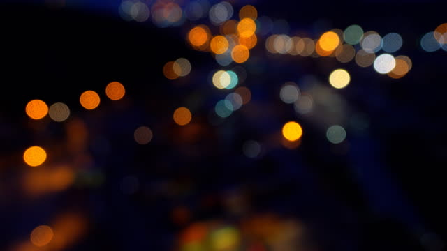 4K:Defocused of Oil refinery power station at night