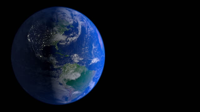 4K:Earth rotation 360 degrees. Night. Looped animation video