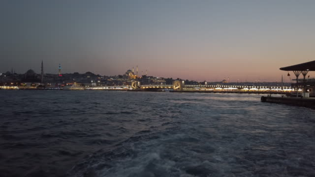 4K:General view of Istanbul city from the ship
