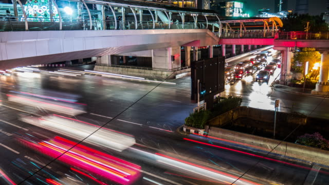 4K:Intersection central city with traffic jam time-lapse video