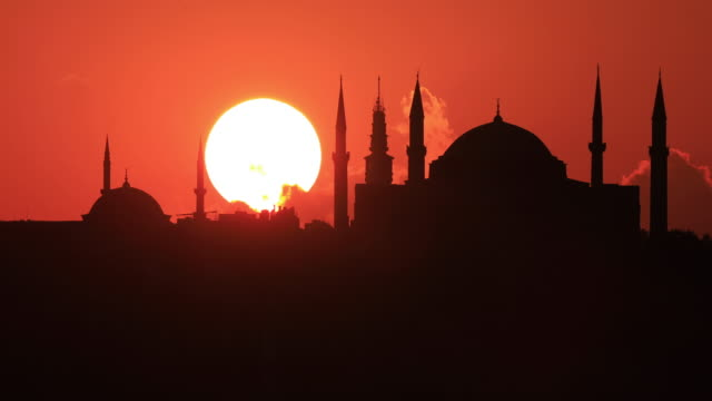 4K:Istanbul Hagia Sophia Mosque Sunset Istanbul Hagia Sophia Mosque Sunset istanbul stock videos & royalty-free footage