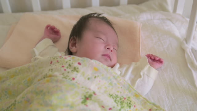 4K,Japanese newborn baby sleeping. video