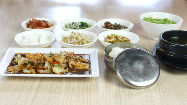 4K:Korean food set with side dishes,Dolly shot video