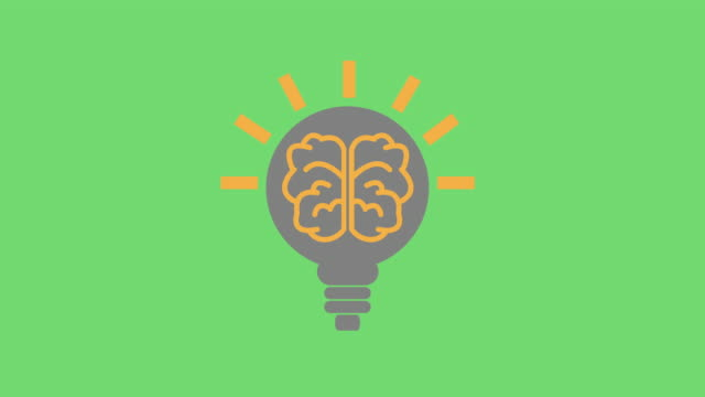 4k:Lightbulb and brain. Idea concept.