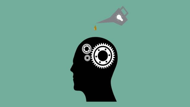 4k:Lubrication Oil Gear Ideas in the Businessman's Head video