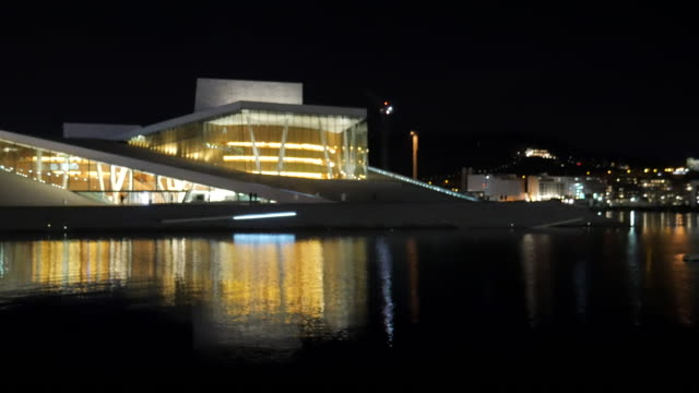 4K:Oslo norway opera house with focus technic video