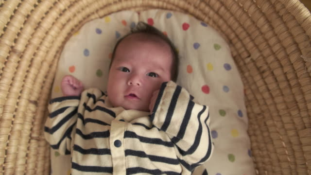 4K,Selective focus shot of Japanese newborn baby. video