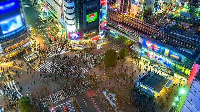4k。日本東京澀谷道口的時間推移鳥瞰圖 - 澀谷交叉點 個影片檔及 b 捲影像