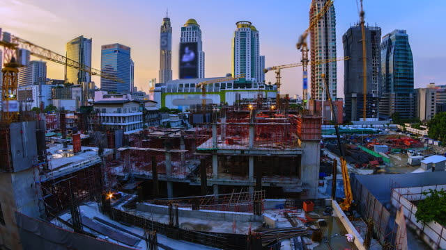 4K.Time lapse construction site in bangkok Thailand video
