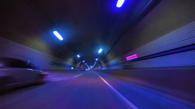 4K.Time lapse fast speed Road tunnel in soul city of korea