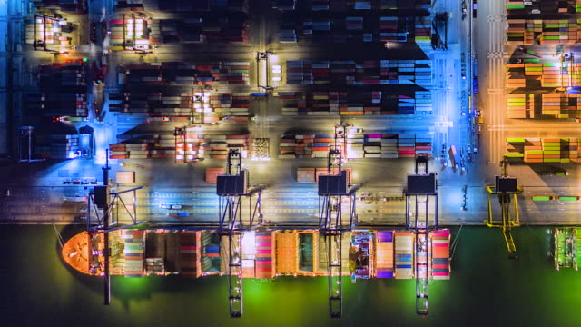 4K.Time lapse Industrial port with Container port where is a part of shipping