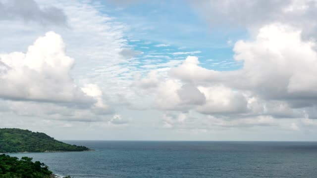 4K-time lapse of blue sky and clouds over andaman tropical sea in summer season video