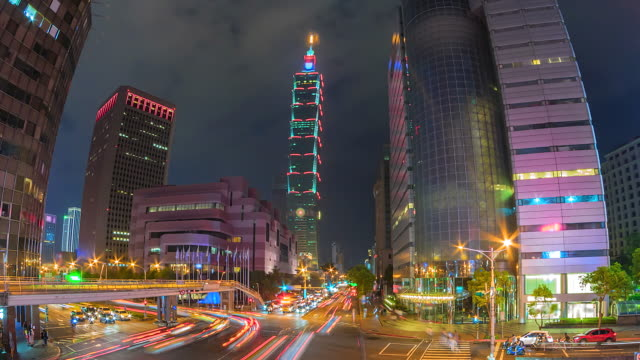 4K.Time lapse of financial central business district building of Taipei Taiwan 4K.Time lapse of financial central business district building of Taipei Taiwan low lighting stock videos & royalty-free footage