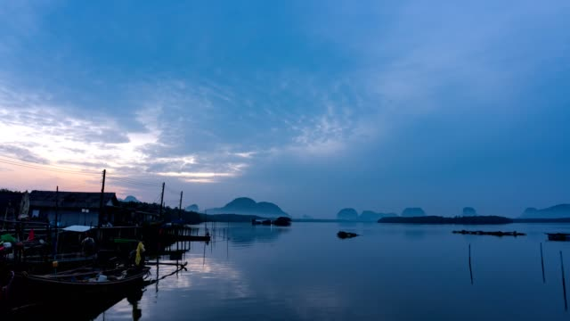 4K-Time Lapse of tropical sea and beautiful colorful sunrise or sunset at Bansamchongtai in Phang-nga province Thailand. video