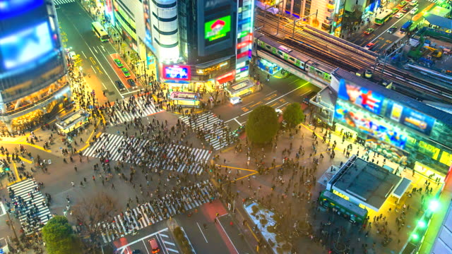 4K.Time lapse People in the streets of the modern city, Shibuya crossing of Tokyo, Japan - vídeo