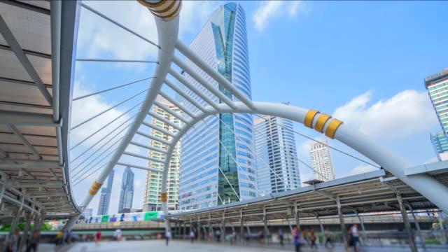 4K.Time lapse Skyscraper at Sathorn Junction Bridge in bangkok Thailand