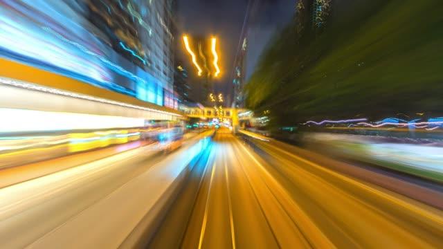 4k. tidsinställd spårvagn snabbt fart rörelse i staden hong kong - fart bildbanksvideor och videomaterial från bakom kulisserna