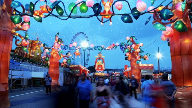4K:Time lapse:Lantern festival,Lunar new year cerebration. Lantern festival,Lunar new year cerebration in singapore. chinese new year stock videos & royalty-free footage
