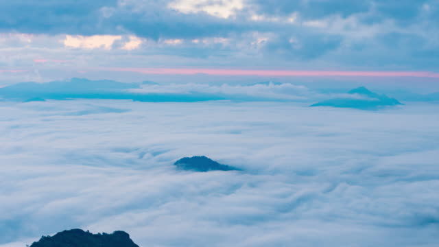 4k:time-lapse of misty clouds at Morning video