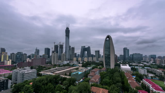4K-TimeLapse-Beijing Central Business district buildings skyline, China cityscape video