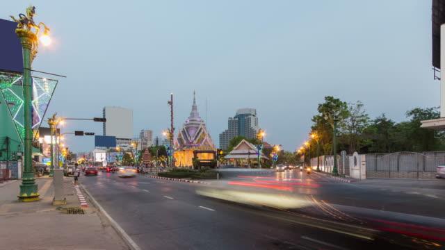 4K:Traffic motion nearly City Pillar Shrine in thailand video