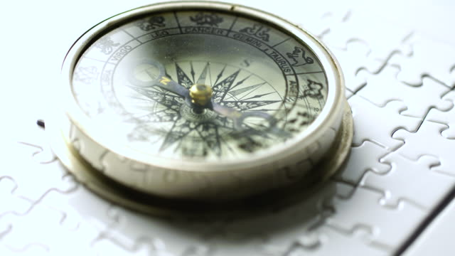4k Vintage compass in business concept - strategy
