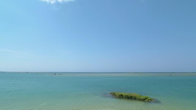 vídeos de stock e filmes b-roll de 4 k, ondas na praia. - linha do horizonte sobre água