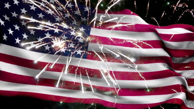 4th of july american flag and fireworks - luglio video stock e b–roll