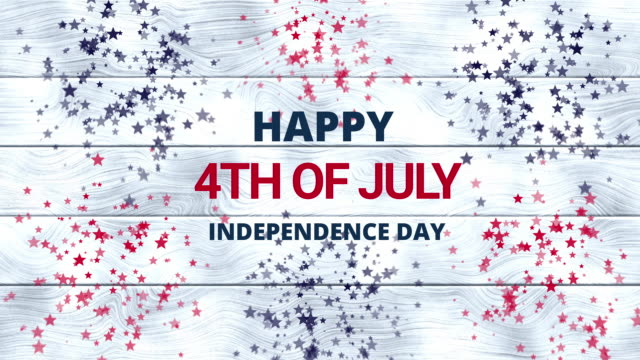 4th of july animation on white wooden background with red, blue, white stars. american independence day. veterans day. usa july fourth holiday greeting. - giorno dell'indipendenza video stock e b–roll