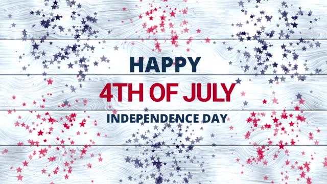 vídeos y material grabado en eventos de stock de animación del 4 de julio sobre fondo de madera blanca con estrellas rojas, azules y blancas. día de la independencia de los estados unidos. día de los veteranos. ee.uu. 4 de julio saludo de vacaciones. - independence day