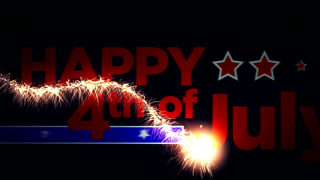 4th of July Animation 4th of July Animation that has a sparkler lighting the text and fireworks at the end fourth of july videos stock videos & royalty-free footage