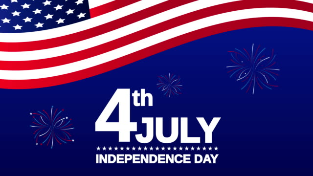 4th of july. independence day with usa flag and fireworks. 4k animation - giorno dell'indipendenza video stock e b–roll
