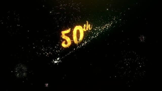 50th Anniversary Greeting Text Made from Sparklers Light Dark Night Sky With Colorfull Firework. video