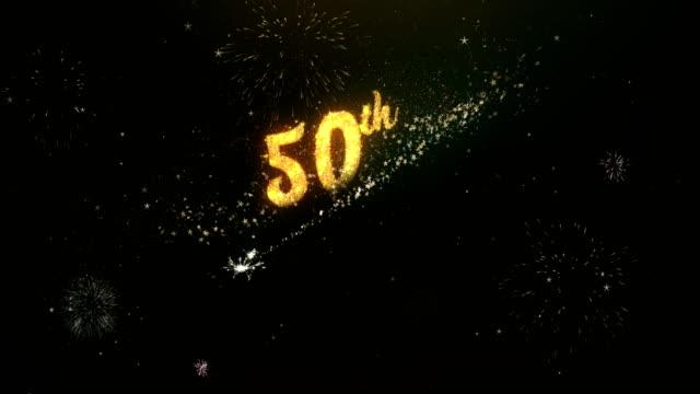 50e anniversaire voeux texte issu du cierge lumière Dark Night Sky avec feu d'artifice Colorfull. - Vidéo