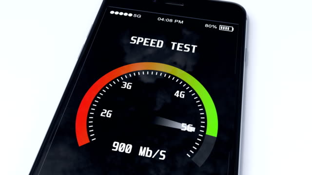 5g technology concept with speed test mobile application running on smartphone video