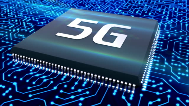 5g technology microchip on the circuit provides high speed network connection video